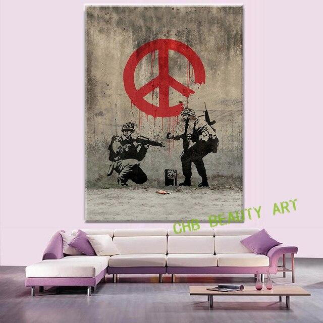Leinwand Malerei Gedruckt Banksy Graffiti Kunst Frieden Welt Pop