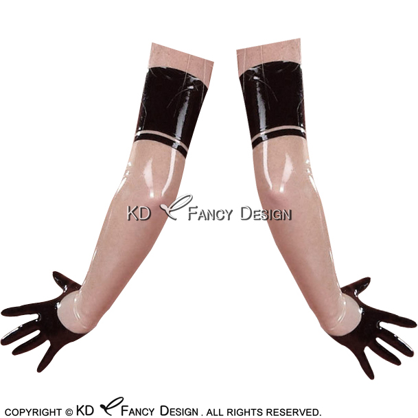 Transparent With Black Trims Sexy Short Latex Gloves With Stripe Rubber Mittens ST 0041