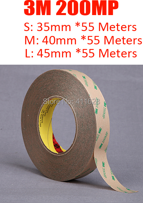 1x Original New 35mm (or 40mm/45mm)*55M High Temperature Resist, Waterproof, Strong Adhesion, <font><b>3M</b></font> <font><b>200MP</b></font> Clear Tape image