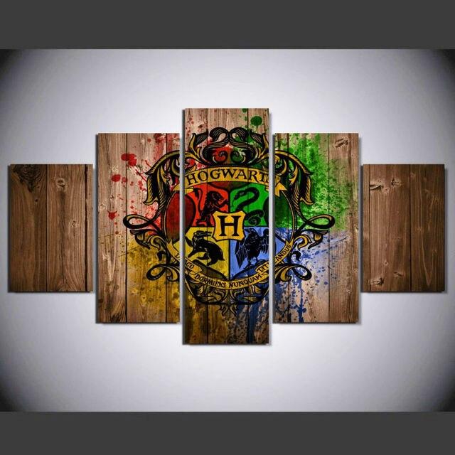 5 pcs set framed hd printed hogwarts magic school picture wall art canvas print decor
