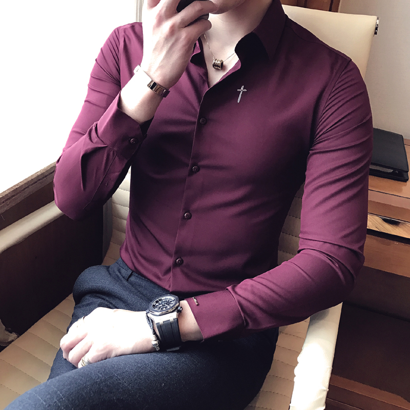 New Men's Fashion Boutique Cotton Embroidery Official Business Long Sleeve Shirts Wedding Dress Men's Shirt Male Casual Shirts