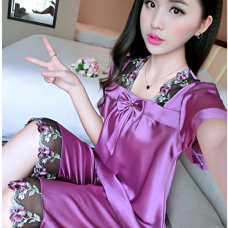 Women's sleepwear twinset summer sexy silk pajamas women pyjama femme short sleeve Silk pajama sets Casual Home Clothes - men left right store
