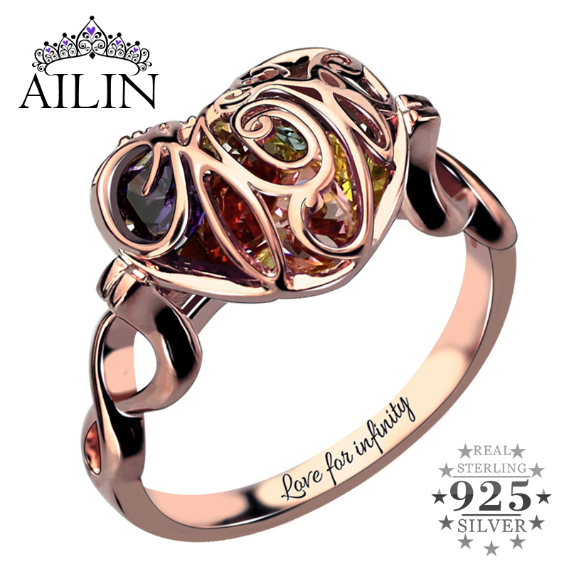 Caged Heart Mother's Birthstone Ring Engraved Infinity Name Ring Rose Gold Color Birthstone Ring Gift for Mother