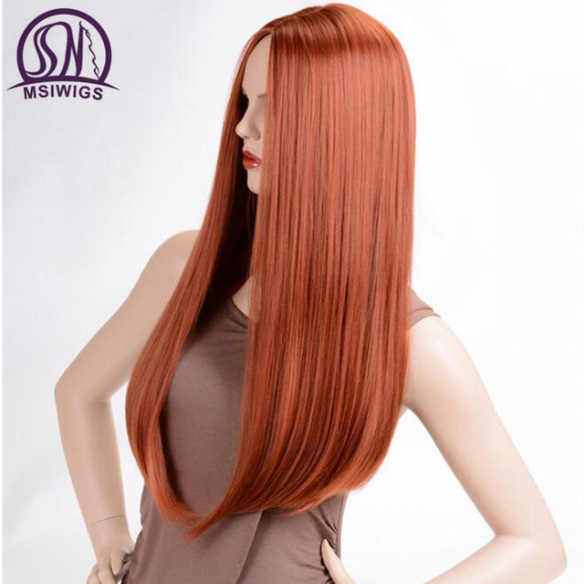 MSIWIGS Long Straight Wigs Synthetic Orange Color Women's Wig 24 Inches Central Part Hair Silver Grey White Red Colour 3