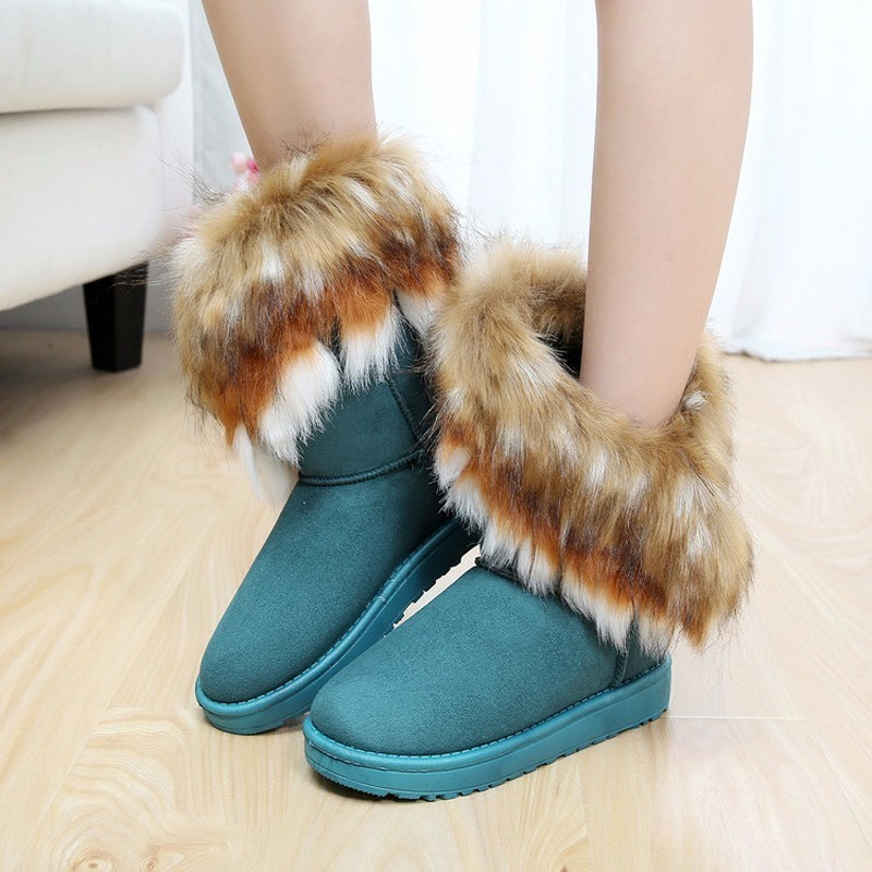 Vogellia Ladies Faux Fur Warm Flat Shoes Winter Edging Footwear Suede Women Snow Boots Sewing Slip-on Mid Calf Woman Boots Aromatic Character And Agreeable Taste Tapes, Adhesives & Fasteners