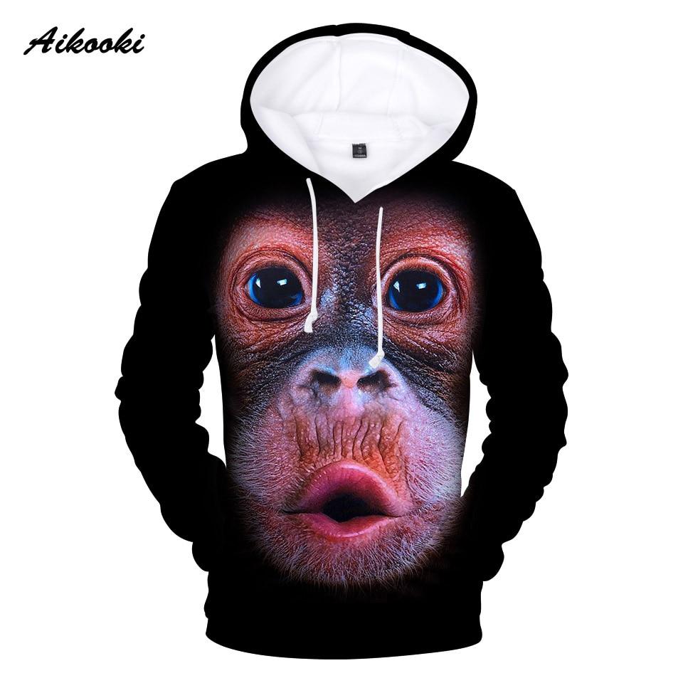 Aikooki Orangutan 3D Hoodies Men/Women Hoody Sweatshirts 3D Print Animal Design Funny Hooded Boys/Girls Cotton Polluver Clothing