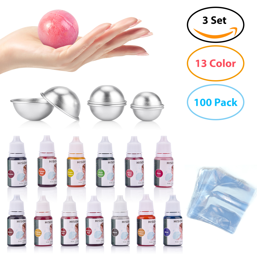 119pcs/set 13 Colors Liquid Soap Dye+6 Pcs Bath Bomb Mold+100 Pcs Opp Bags Food Grade Liquid Bath Bombs Soap Dye DIY Making Kit