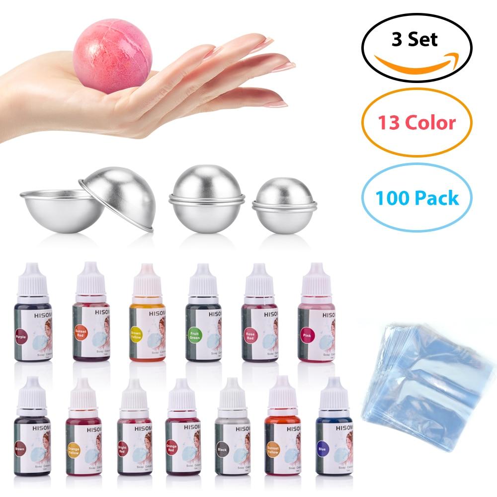 119pcs/set 13 Colors Liquid Soap Dye+6 Pcs Bath Bomb Mold+100 Pcs Opp Bags Food Grade Liquid Bath Bombs Soap Dye DIY Making Kit