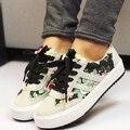 Холст обувь женщина 2016 моды печатные повседневная обувь женщин платформы женская обувь