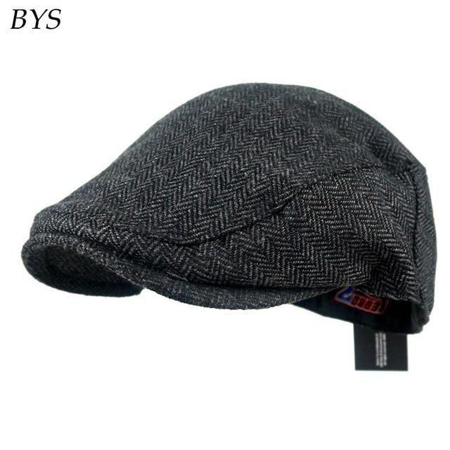 61ae3c133c4 2017 Fashion Herringbone Tweed Gatsby Newsboy Cap Men Cotton Ivy Hat Street  Casual Driving Flat Cabbie Flat Unisex Berets Hat