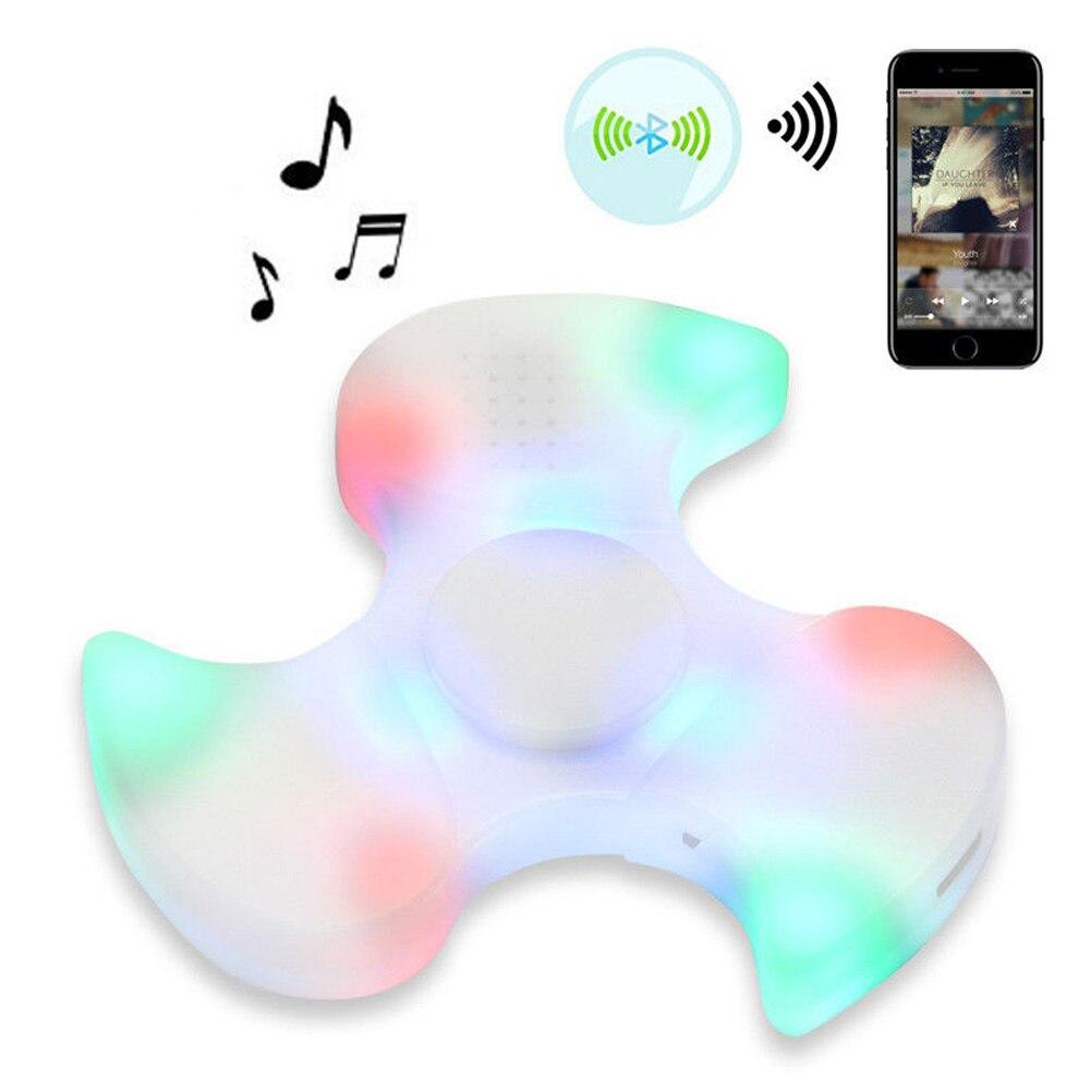 LED Bluetooth Speaker Music Tri Fidget Fingertip Gyro Toy Fidget Hand Spinner EDC Case Funny Toy