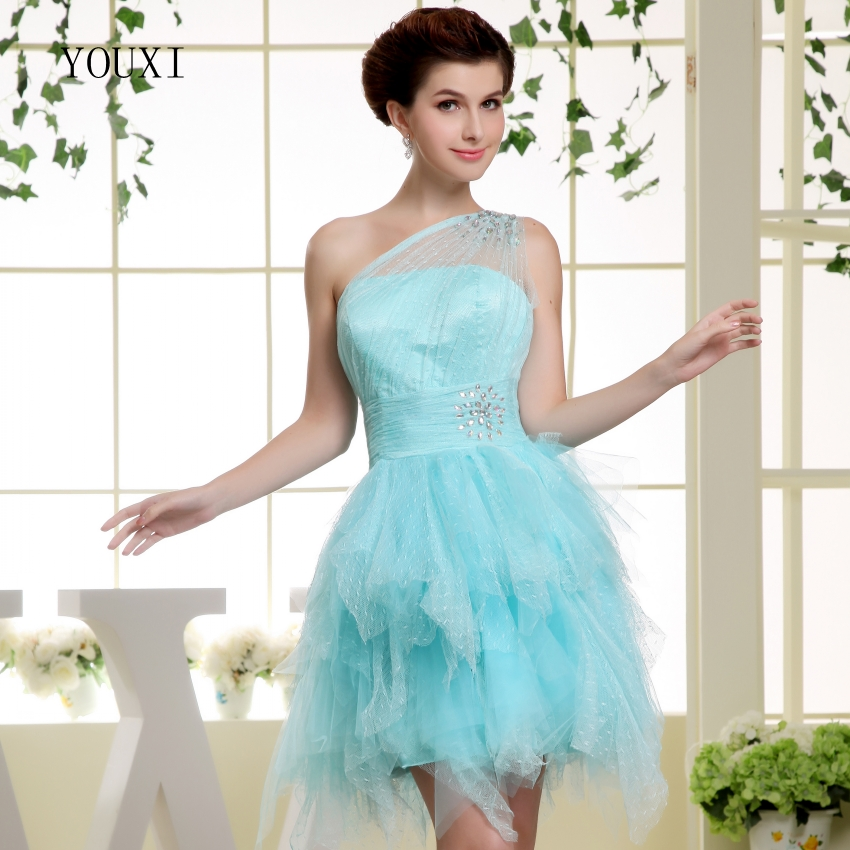 Sexy One Shoulder Light Blue Short   Prom     Dresses   2019 Hot Cocktail Party   Dress   For Women PD116