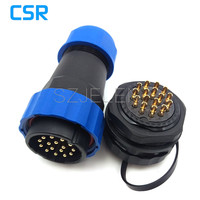 SD28TP ZM 16 Pin Waterproof Connectors LED Cable Plug And Socket IP67 Industrial Panel Mount Connector