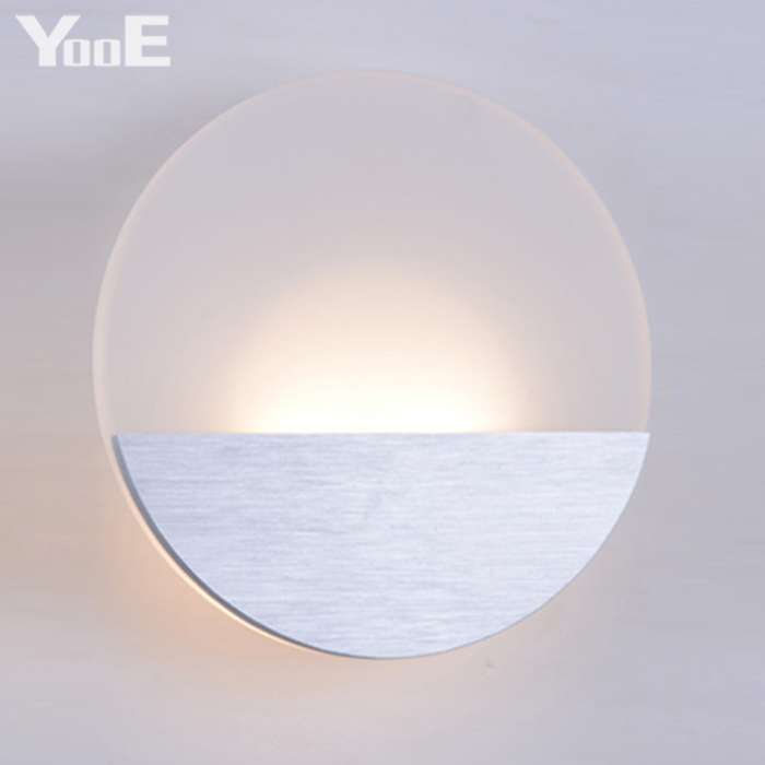 ФОТО Indoor LED Wall Lamp 6W AC110V/220V Fashion Round Acrylic Lighting Sconce bedroom Warm White Decorate Wall Lights Free shipping