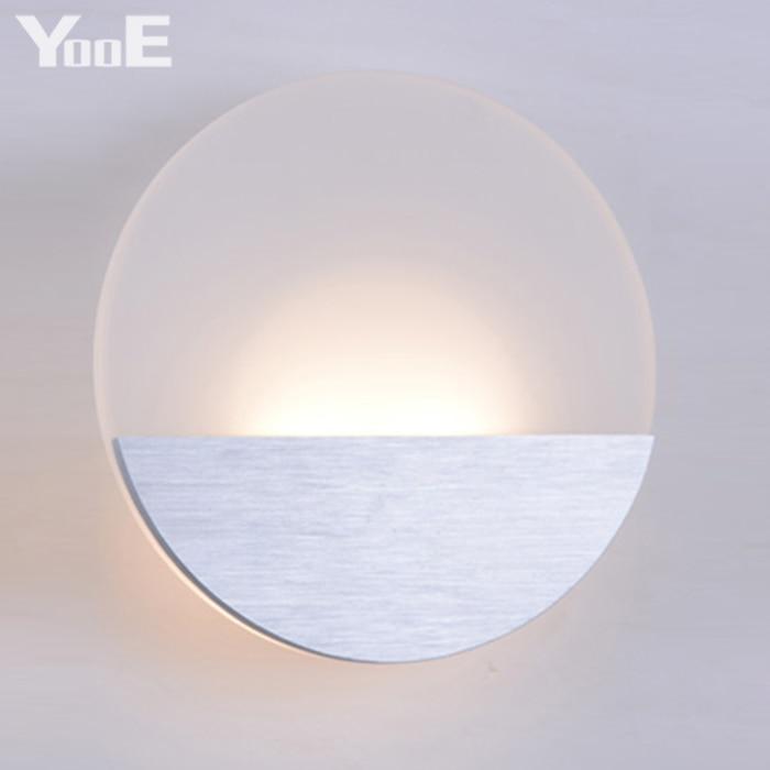 YooE Indoor LED Wall Lamps 6W AC110V/220V Fashion Round Acrylic Wall Sconce Lighting bedroom Warm White Decorate LED Wall Lights баскетбольный мяч adidas x35859