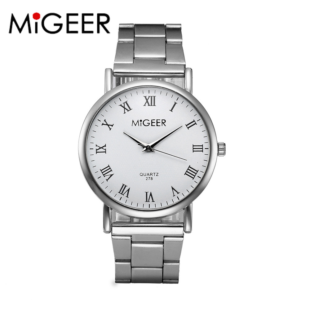 Fashion Men Women Stainless Steel Analog Quartz Wrist Watch Luxury Brand Silver Stainless Steel Women's Watches Relogio MIGEER migeer fashion man stainless steel analog quartz wrist watch men sports watches reloj de hombre 2017 20 gift