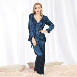 SSH078 الربيع الخريف الحرير الحرير النساء بيجامة مجموعة من النوم الطويل بلوزة بانت أعلى جودة سيدة نوم الإناث مثير الدانتيل ملابس خاصة