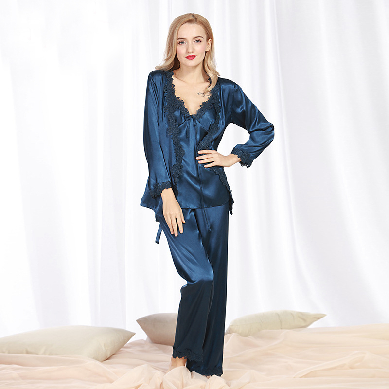 SSH078 Spring Autumn Satin Silk Women Pajama Set of Long Sleep Blouse Pant Top Quality Lady Nightwear Female Sexy Lace Sleepwear