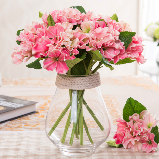Искусственный Цветок Гортензии Настоящее Сенсорный малый PU Гортензия искусственный сочные искусственные цветы для домашнего интерьера украшения