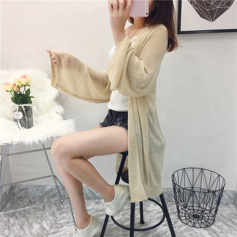 Women Summer Thin Sunscreen Cardigan Loose Casual Long Sleeve Knitted Cardigan Jacket Female Solid Color Sun Protection Tops