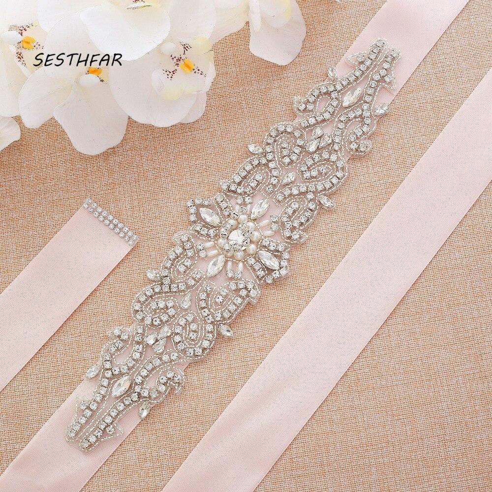 Pearls Wedding Belt Bridal Diamond Belt Handmade Silver Rhinestones Belt For Wedding Dress J126