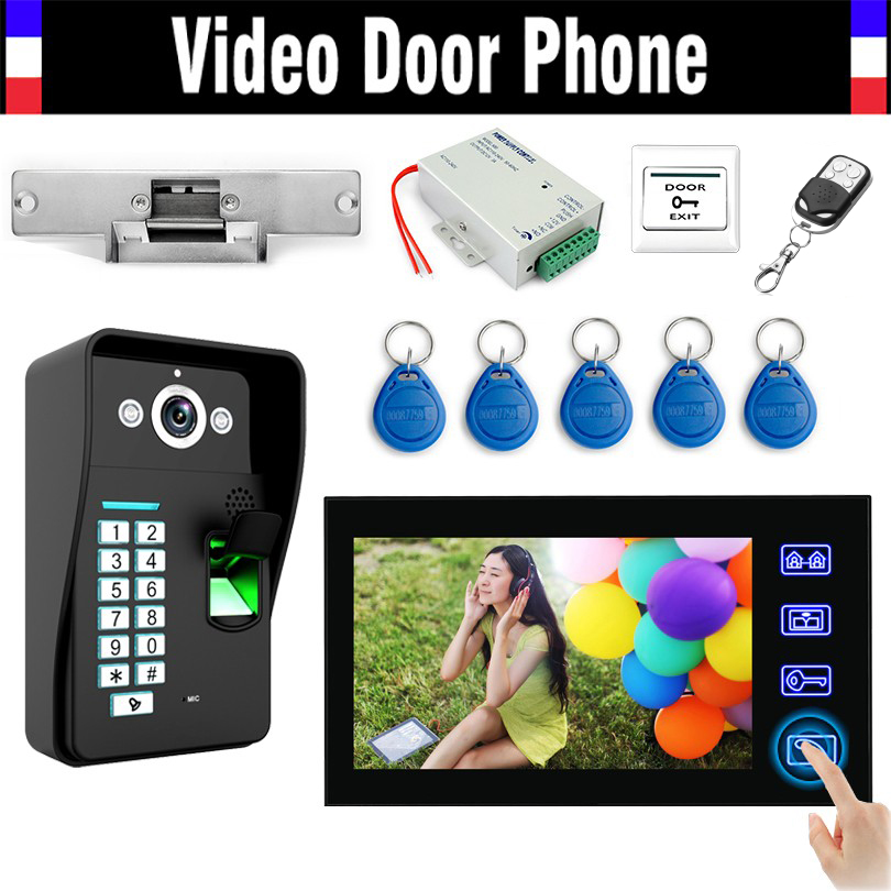 Wired 7'' Touch Video Door Phone Intercom Doorbell Kits Fingerprint ID Keyfobs Password Keypad Electronic Strike Lock Doorphone