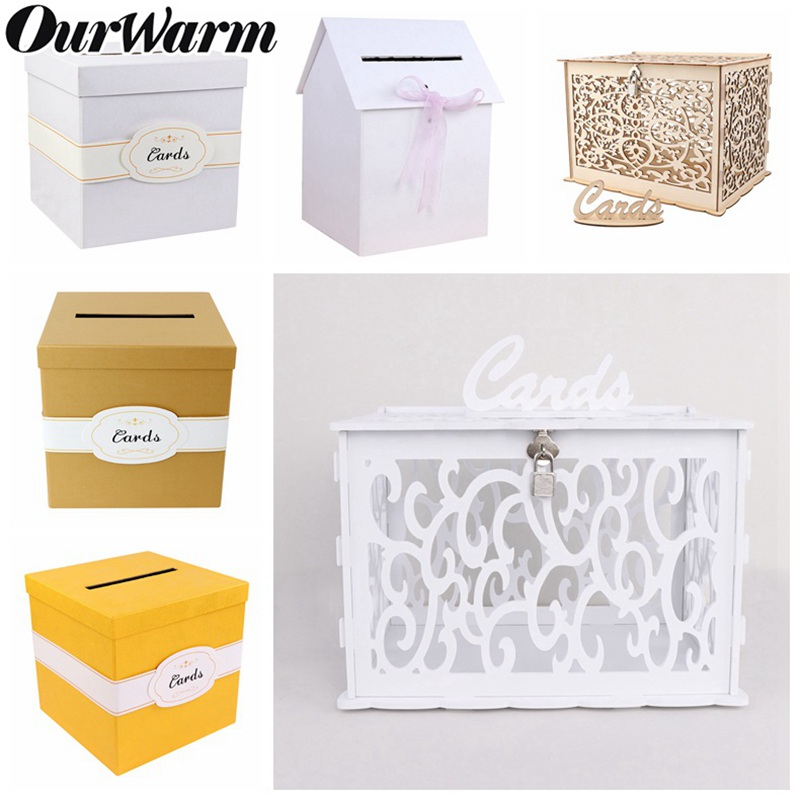 OurWarm DIY Wedding Gift Card Box Money Box Beautiful Wedding Decoration Supplies For Birthday Party Storage Money