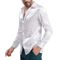 New Arrival Custom Made Any Colors Elastic Silk Like Satin Men Wedding Shirt Groom Shirts Wear