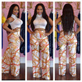 New 2016 Fashion Summer Women 2 Pieces Jumpsuit Set Sexy Bodycon White Crop Top Long Printed Wide Leg Pants Female Rompers KP#81