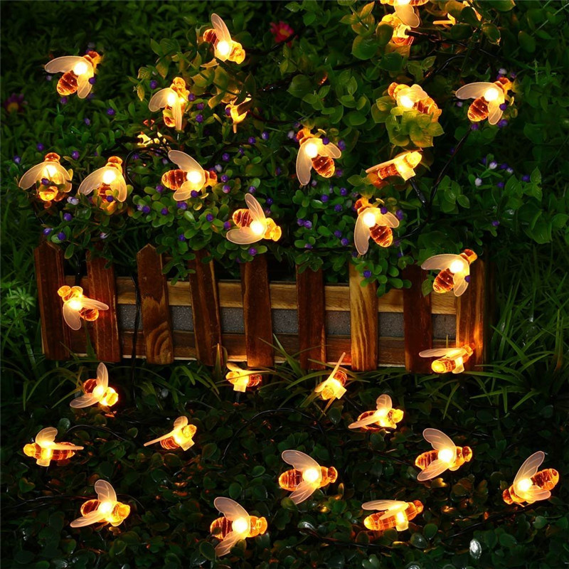 New Solar Powered Cute Honey Bee Led String Fairy Light 20leds 50leds Bee Outdoor Garden Fence Patio Christmas Garland Lights