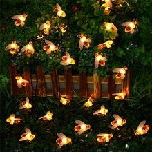 Nova fada led com 20 lâmpadas e 50 lâmpadas, alimentada por energia solar, bonito, mel, abelha, jardim ao ar livre, cerca, pátio, natal luzes guirlanda
