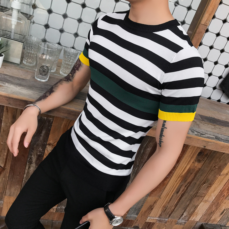 Summer Casual Tshirt Streetwear Tees   Shirts   Fashion Short Sleeve Striped Knitted   T     Shirt   Male Slim Fit Business Camisetas Hombre