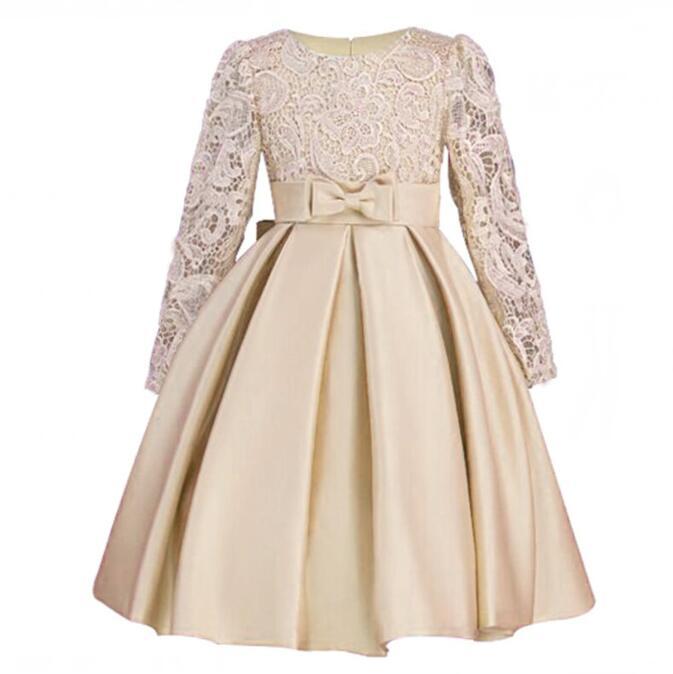 где купить Elegant Girls Dresses Long sleeve silk Lace New Years Clothes Wedding Birthday Party Dress For Girl Children's Princess Frocks по лучшей цене