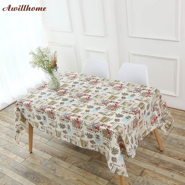 Awillhome Tablecloths Home Rectangle Tablecloths Pastoral Flower Linen  Modern Dining Table Cloth Factory Table Covers Wedding