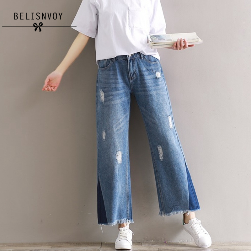 Plus Size Casual Loose Wide Leg Pants Summer New Women's Boyfriend Spliced Holes Blue Jeans High Waist Ankle- Length Trousers plus size side stripe wide leg blue capris jeans 4xl 7xl oversized tassel irregular fringe ankle length denim pants