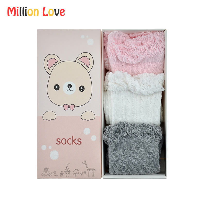3 pairs/lot Gift set Baby girl knee high Cotton socks summer 0-24M newborn infant breathable socks pink white baby stuff bebes