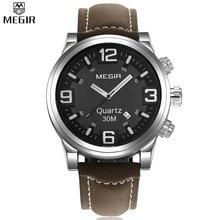 MEGIR Dial Grande Reloj de Los Hombres de la Marca de Lujo de Cuarzo Ocasional Militar Sport Reloj Digital de Pulsera relogio masculino de Los Hombres