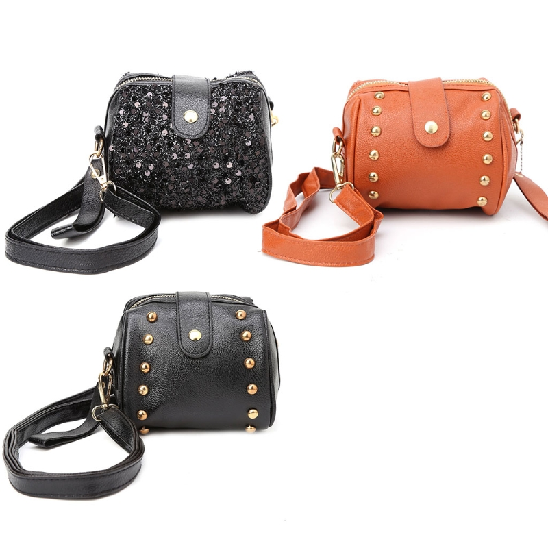 THINKTHENDO Women Rivet Leather Shoulder Bag Messenger Purse Tote Cross Body Bags Handbag