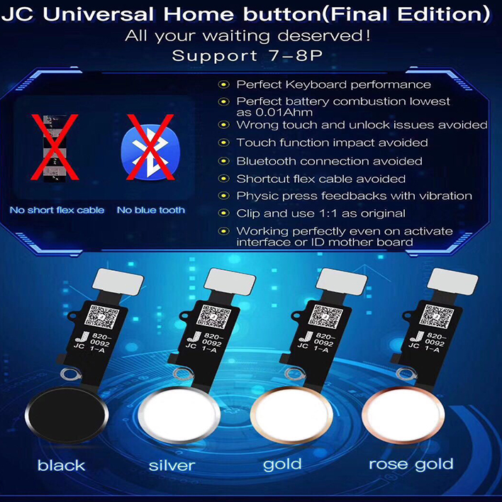 5rd Gen New JC Universal Home Button For Iphone 7/7 Plus/8/8 Plus Return Button Key Back Screen Shot Function