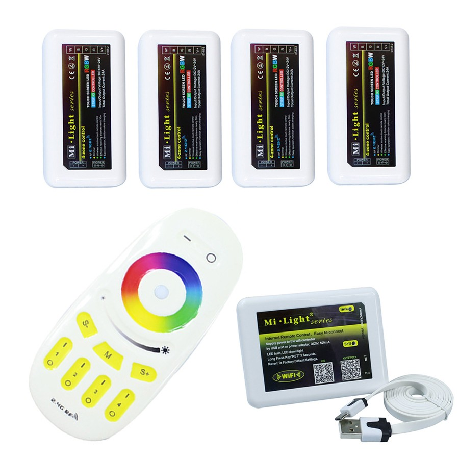 Milight Led WiFi Controller + 4PCS Group 2.4G Led RGBW Controller Box + 1PC 4-Zone RF Remote Control For RGBW Led Strip Light milight remote wifi 4x rgbw led controller group control 2 4g 4 zone wireless rf touch for 5050 3528 rgbw led strip light
