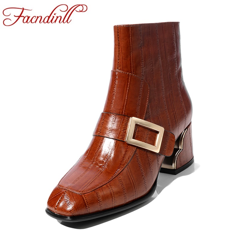 FACNDINLL new autumn winter women ankle boots shoes genuine leather high heels square toe shoes woman dress party riding boots