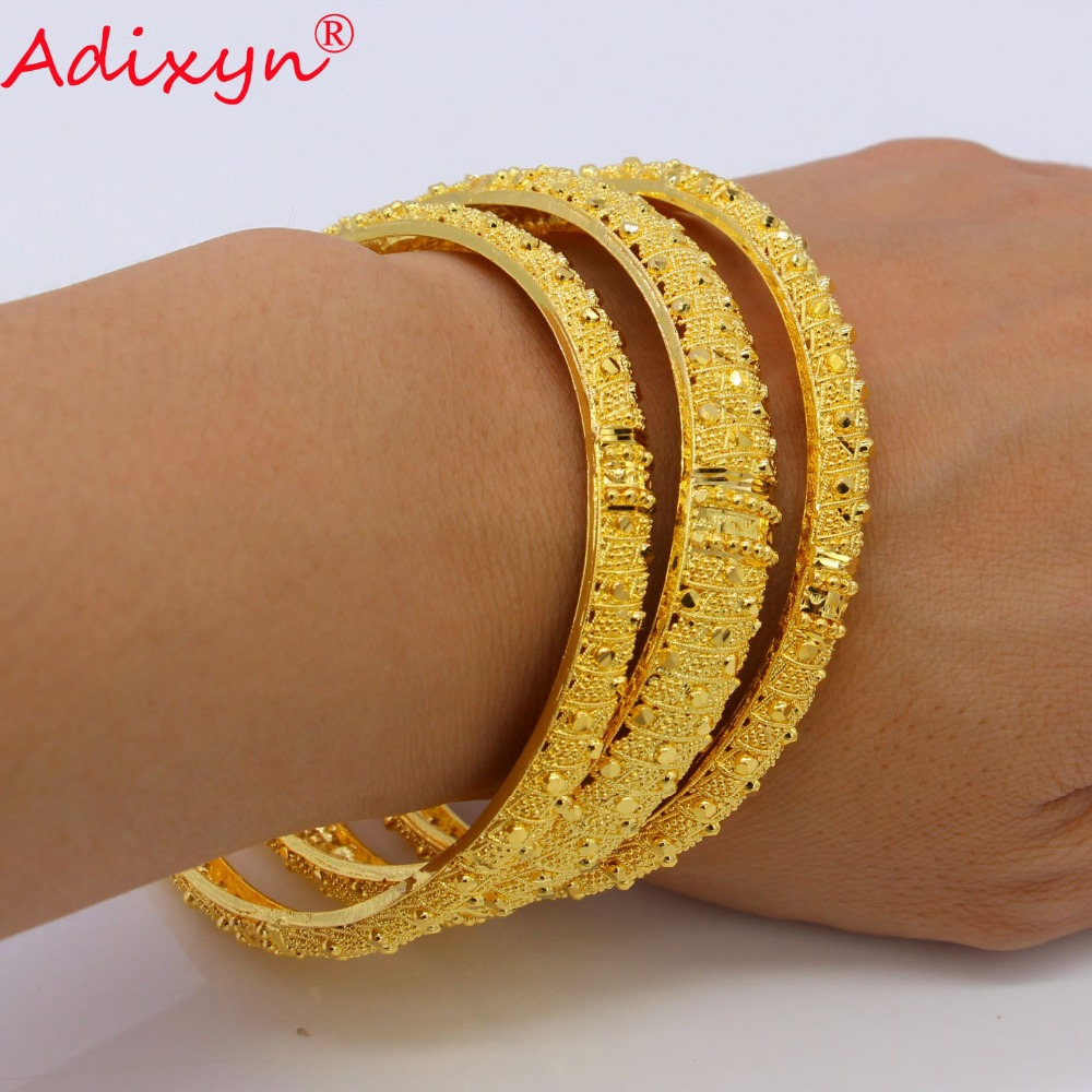 Adixyn 3Pcs Mix 7cm/2.8inch Dubai Bangles For Women Gold Color Bracelets Ethiopian/Arab/Middle East Party Gifts N07012 adixyn dubai gold bangles fashion jewelry for women men gold color bangles bracelets african india middle east items free box