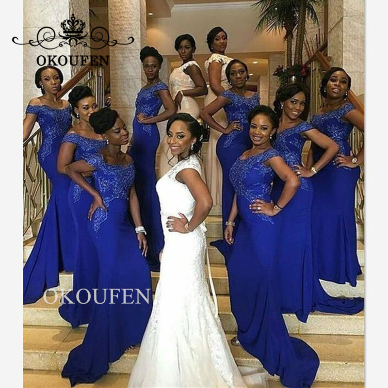 Royal Blue Mermaid   Bridesmaid     Dresses   2019 Wholesale Price Lace Beads Off Shoulder Long   Dress   For Wedding Party Gown