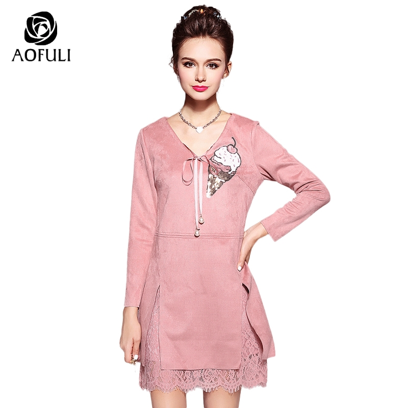 S 5XL High Street Sweet Ice Cream Sequin Suede Dress Plus Size Women Pearls  Ribbon V Neck Long Sleeve Floral Lace Slit Hem 5897-in Dresses from ...