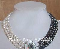Wholesale free shipping >>Beautiful Jewellery 3 rows Real Black & white pearl necklace shell Flower clasp