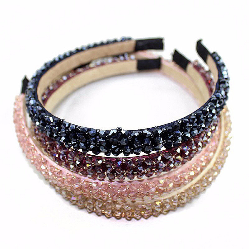 Metting Joura Multicolor Crystal Glass Headband Fashion Handmade Hair Band For Women & Girls Hair Accessories Hairband Jewelry metting joura vintage bohemian ethnic colored seed beads flower rhinestone handmade elastic headband hair band hair accessories