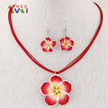 New DIY Design Red/blue/purple/pink/white Hawaii Flowers Crystal Earrings Pendant Necklace Polymer Clay Jewelry Set