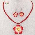New Design DIY Vermelho/azul/roxo/rosa/branco Havaí Argila do Polímero Colar De Flores De Cristal Brincos de Pingente Conjunto de jóias