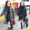 Детская Одежда девушки Осень Зима Корейской Плед Кисточкой Пальто Дети Clothing Черный Синий