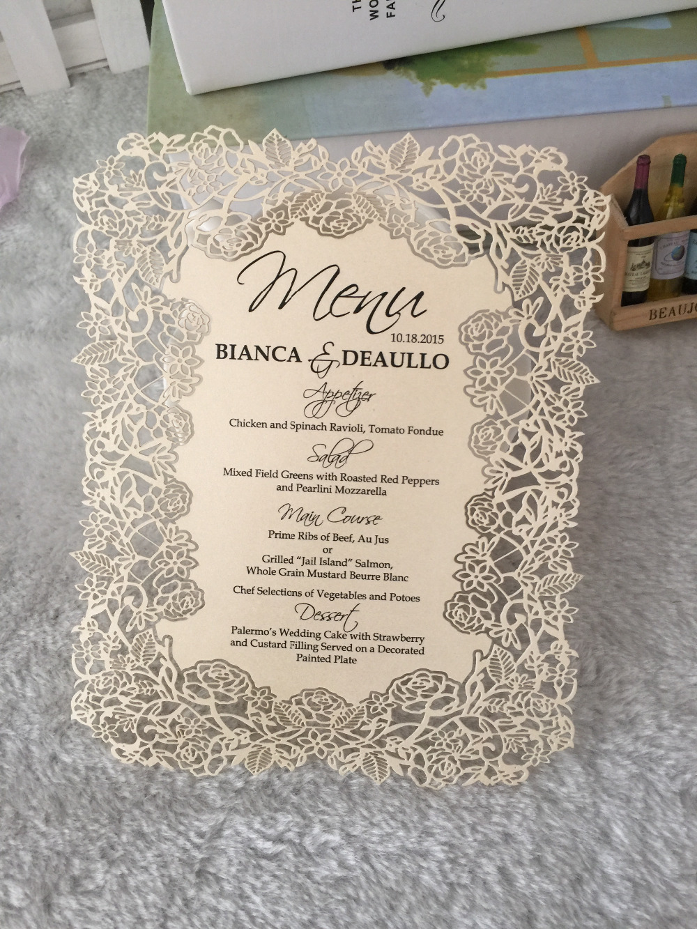 Rose Lace Design European Wedding Invitation Cards With Printing